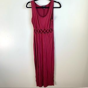 Forever 21   Women's   Cut-Out Maxi Dress   Wine Red